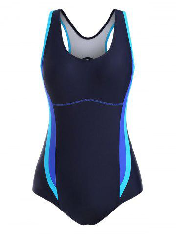 Colorblock Stitching Cutout Back One-piece Swimsuit - DEEP BLUE - 2XL