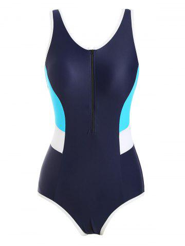 Colorblock Zip Front Contrast Piping One-piece Swimsuit - DEEP BLUE - 2XL