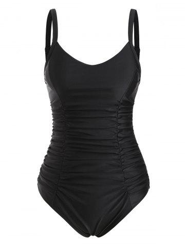 Ladder Cut Ruched Tummy Control One-piece Swimsuit - BLACK - S