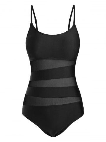 Cami Mesh Panel Solid One-piece Swimsuit - BLACK - S