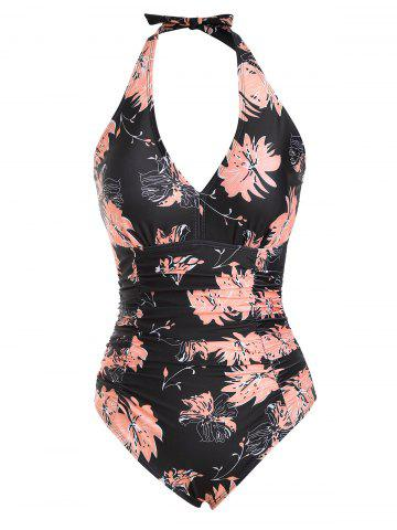 Backless Flower Halter Ruched Tummy Control One-piece Swimsuit