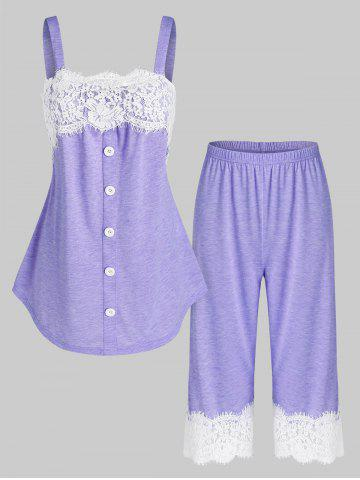 Flower Lace Insert Mock Button Heathered Pajama Set