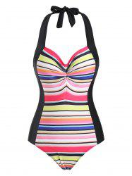 Ruched Halter Rainbow Backless One-piece Swimsuit -