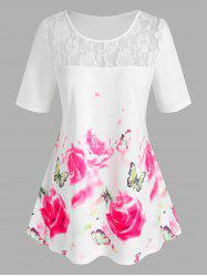 Plus Size Floral Butterfly Print Lace Insert Tee -