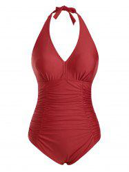 Backless Halter Ruched Tummy Control One-piece Swimsuit -