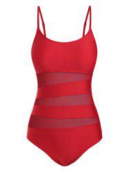 Cami Mesh Panel Solid One-piece Swimsuit -