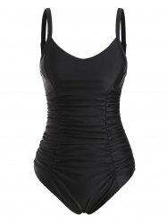 Ladder Cut Ruched Tummy Control One-piece Swimsuit -