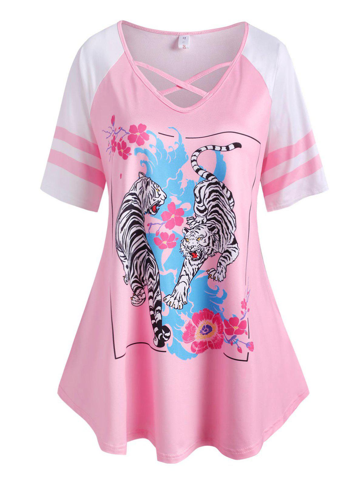 Affordable Plus Size Tiger Flower Pattern Raglan Sleeve Cross Tee