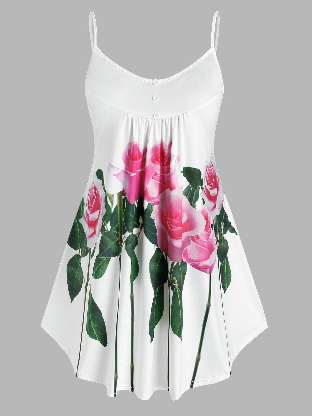 Affordable Plus Size Floral Print Tent Tank Top