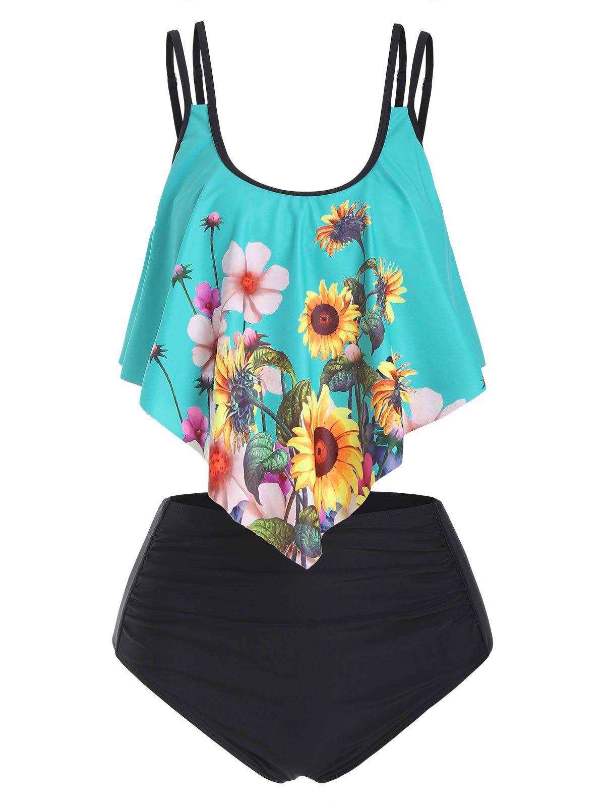 Fashion Double Strap Sunflower Ruched Tankini Swimwear