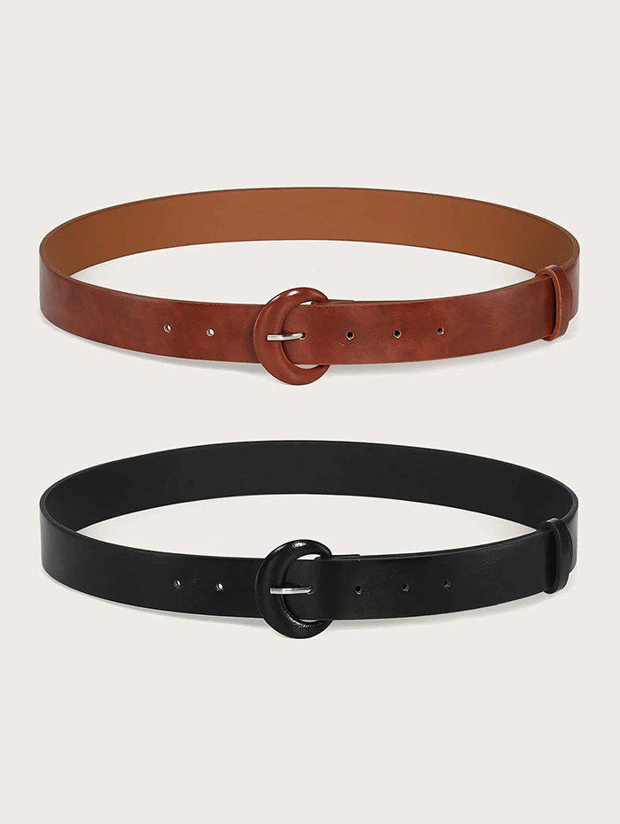 Fashion 2Pcs Solid Faux Leather Buckle Belt Set