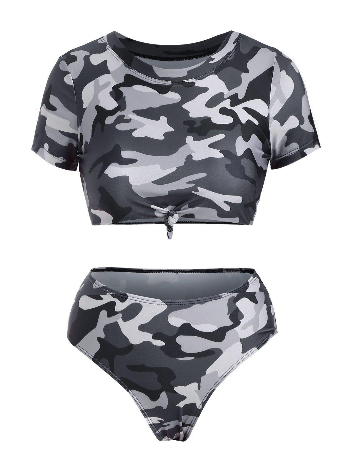 Affordable Camo Knotted Cropped High Waisted Bikini Swimwear
