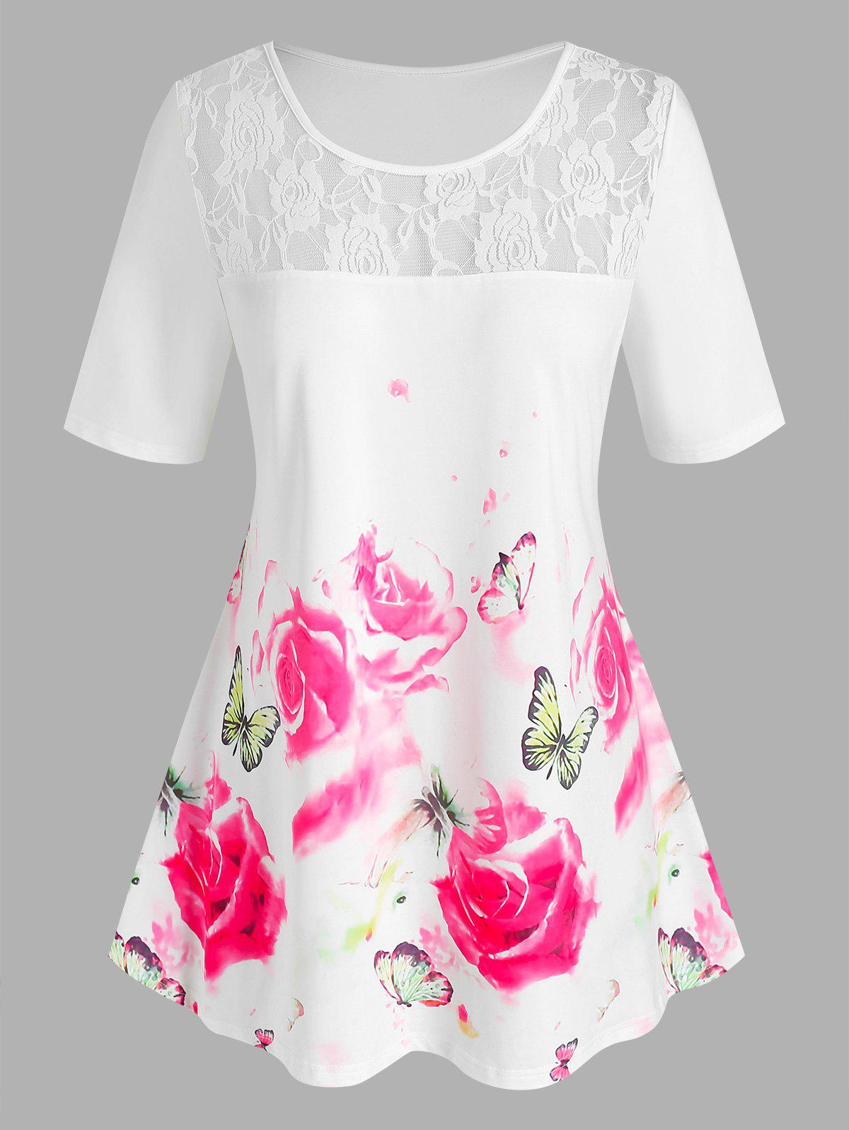 Latest Plus Size Floral Butterfly Print Lace Insert Tee
