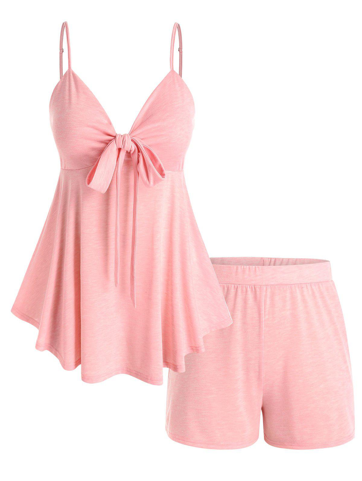 Affordable Plus Size Front Knot Top and Shorts Pajamas Set