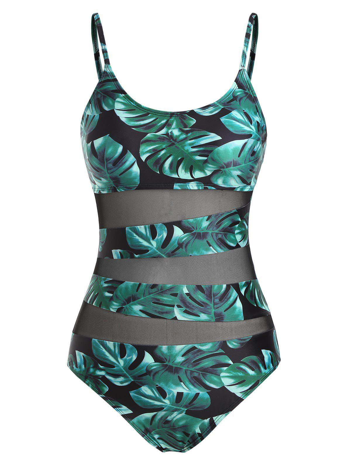 Store Mesh Insert Leaf Print Cami One-piece Swimsuit