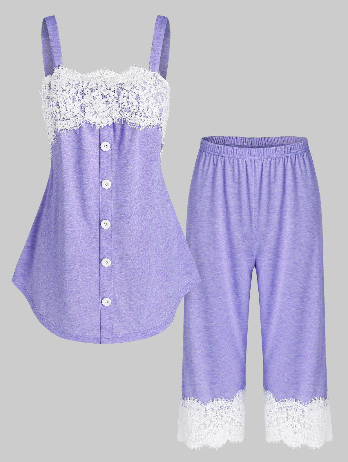 Outfits Flower Lace Insert Mock Button Heathered Pajama Set