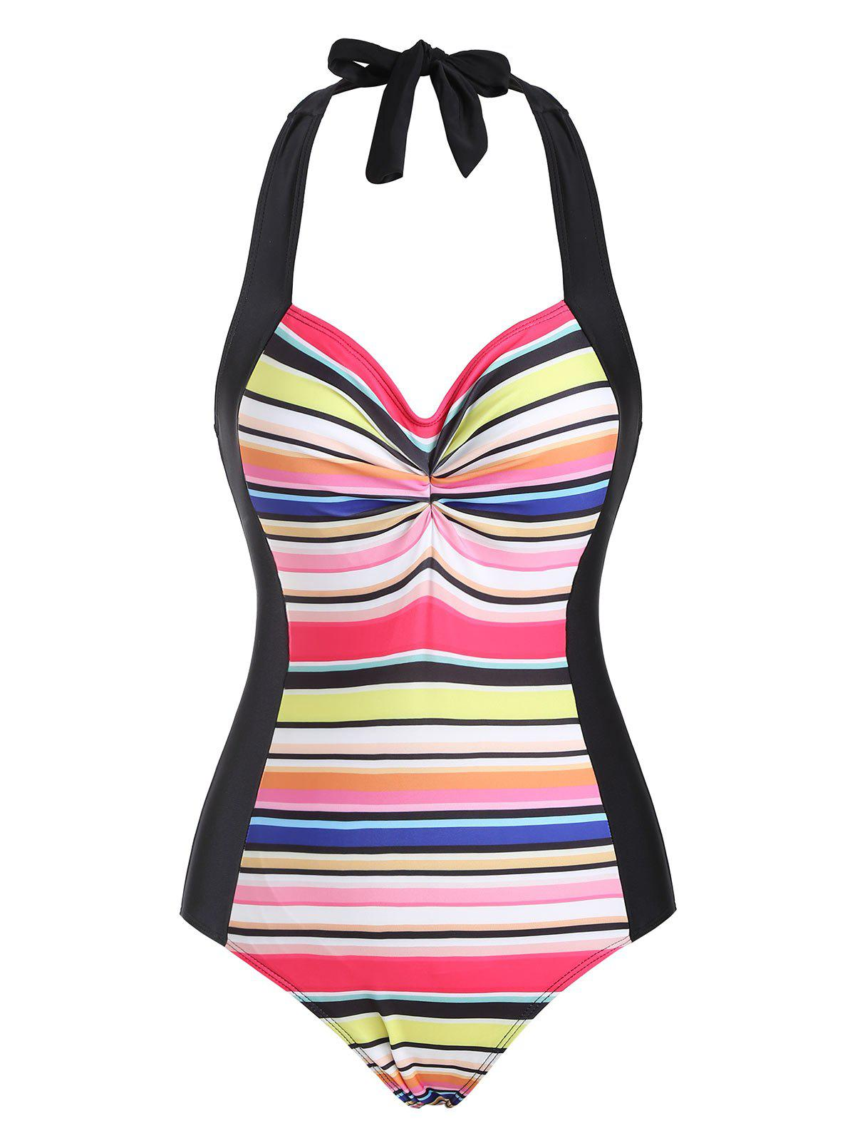 Shop Ruched Halter Rainbow Backless One-piece Swimsuit