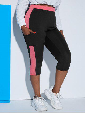 Colorblock Side Pocket Plus Size Sports Capri Leggings - LIGHT PINK - 1X