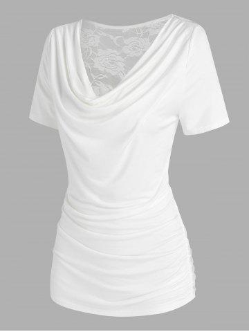 Cowl Neck Back Lace Insert T Shirt