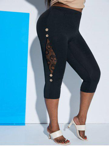 Plus Size Lace Panel Buttoned Cropped Leggings - BLACK - 2X