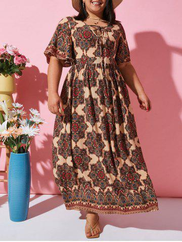 Flutter Sleeve Ethnic Printed Lace Up Plus Size Dress - COFFEE - 3X