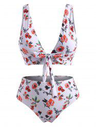Plus Size Floral Knotted Plunge Ladder Cutout Tankini Swimwear -