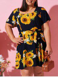 Plus Size Sunflower Belted Nap Dress -