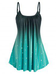 Plus Size Ombre Color Star Print Swing Tank Top -