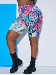 Star Feather Tie Dye Plus Size Biker Shorts -