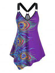 Plus Size Peacock Feathers Print O Ring Tank Top -