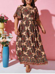 Flutter Sleeve Ethnic Printed Lace Up Plus Size Dress -