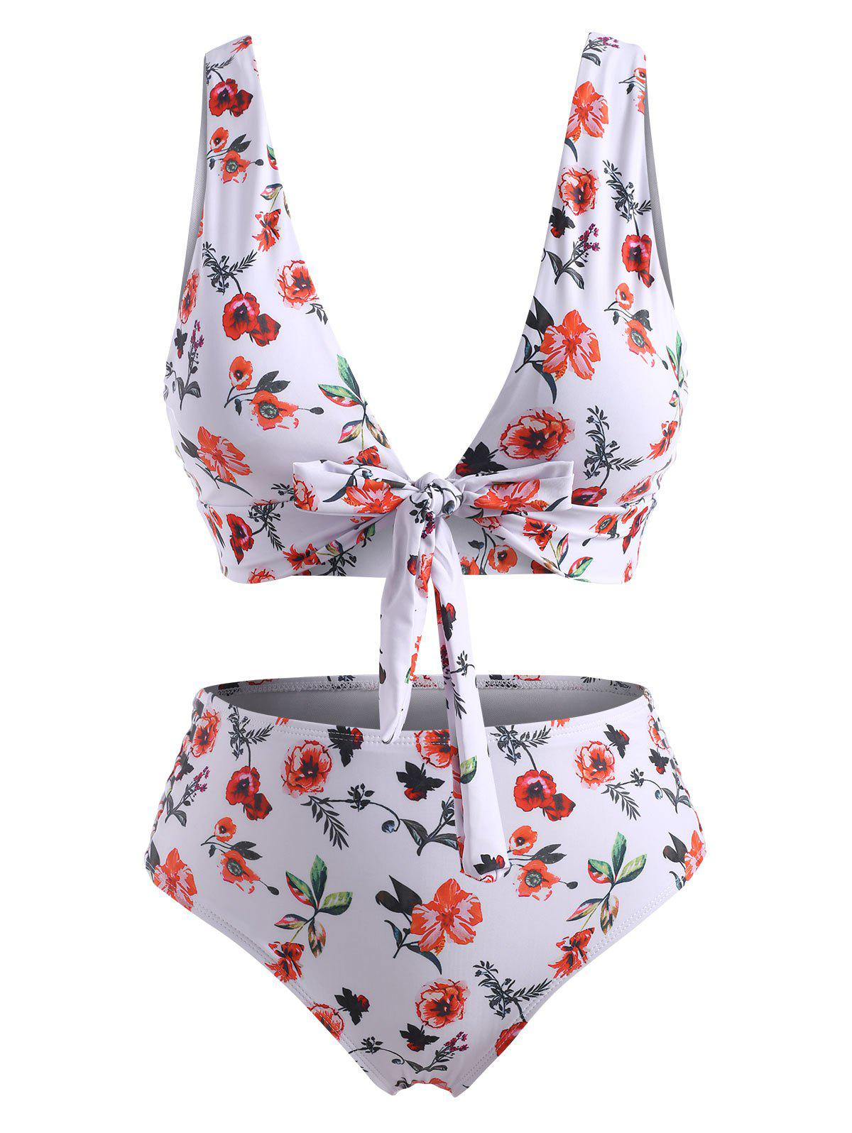 New Plus Size Floral Knotted Plunge Ladder Cutout Tankini Swimwear