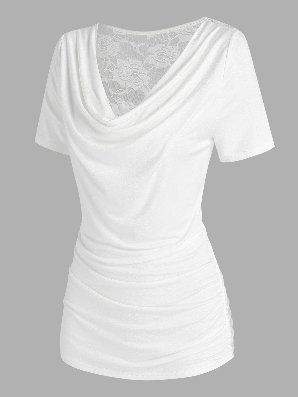 Trendy Cowl Neck Back Lace Insert T Shirt