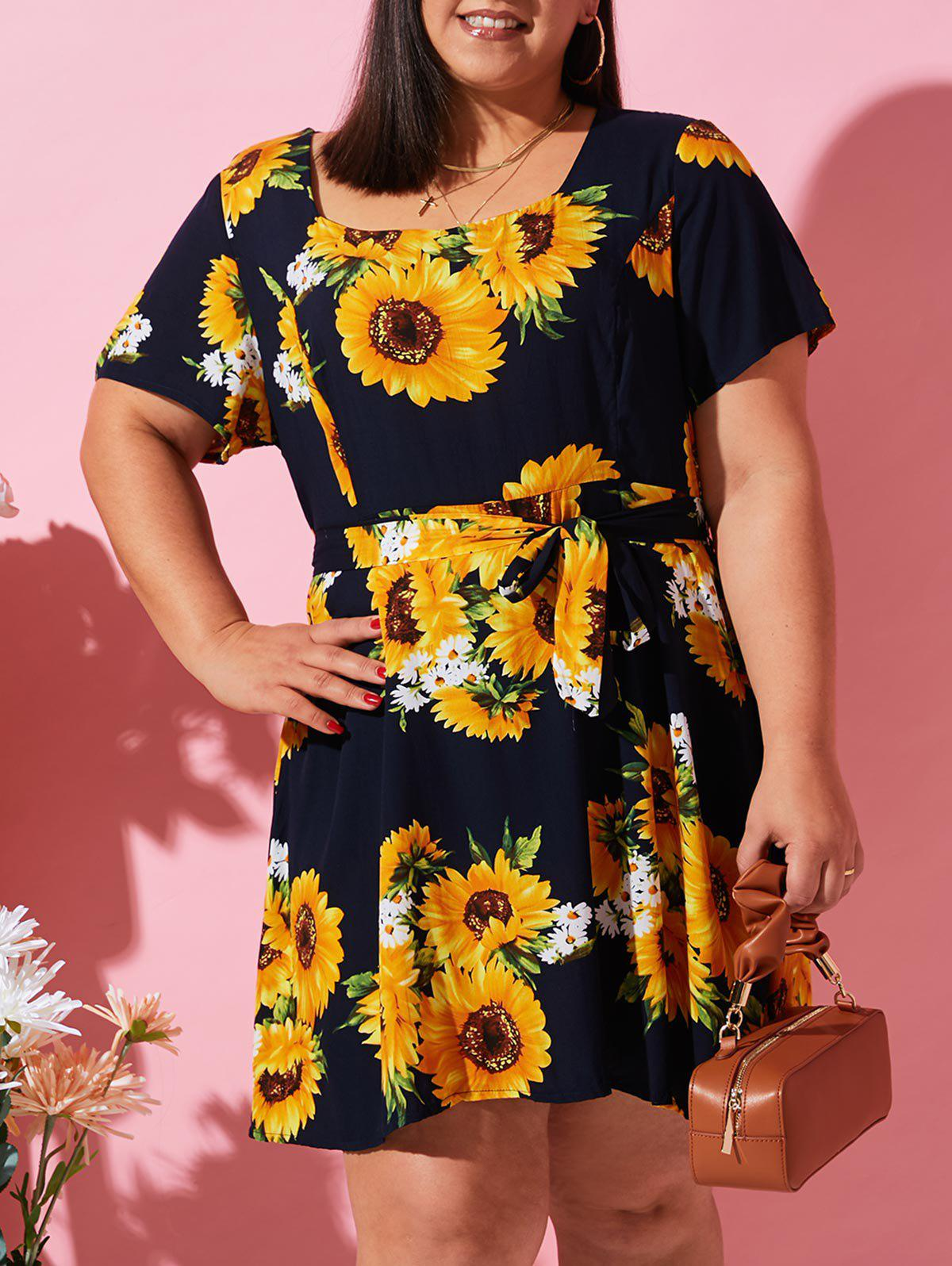 Affordable Plus Size Sunflower Belted Nap Dress