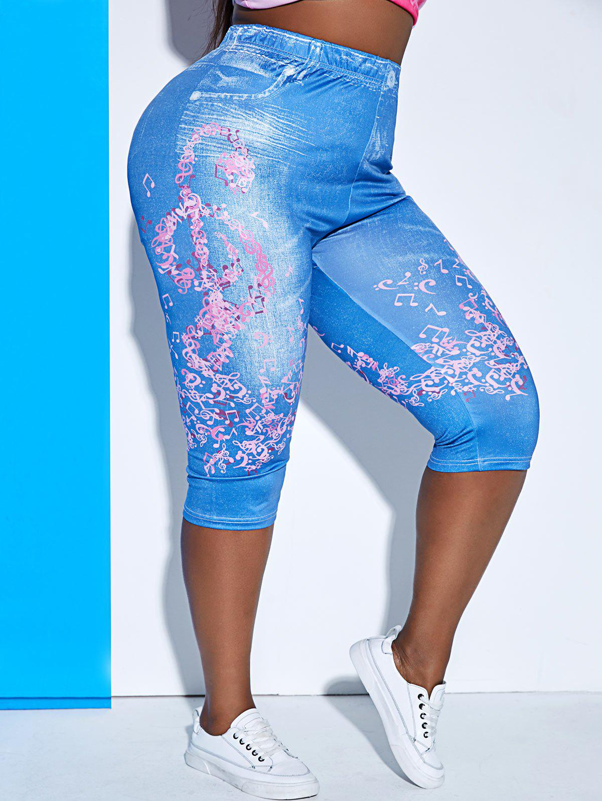 Trendy Plus Size High Waist Musical Notes Print Cropped Jeggings