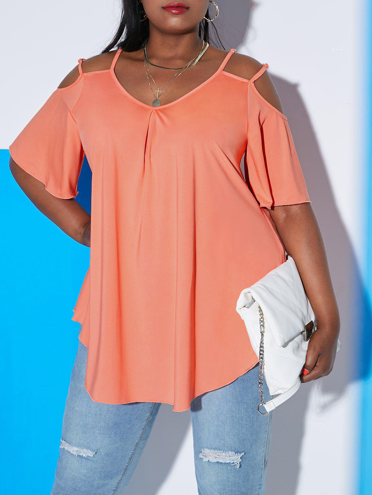 Affordable Plus Size Cold Shoulder Double Strap Cutout Tee