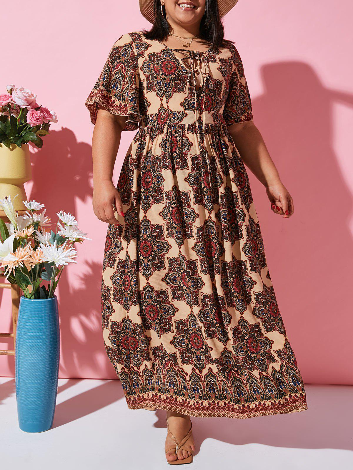 Discount Flutter Sleeve Ethnic Printed Lace Up Plus Size Dress