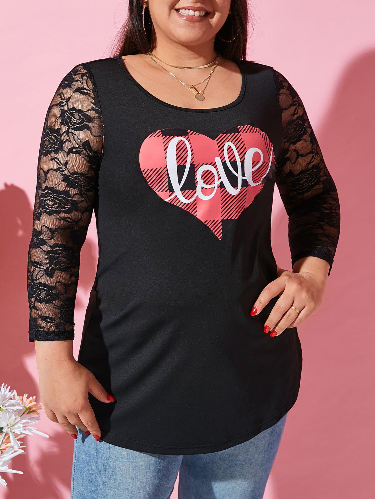 Plus Size Checked Love Heart Graphic Lace Sleeve Tunic Top