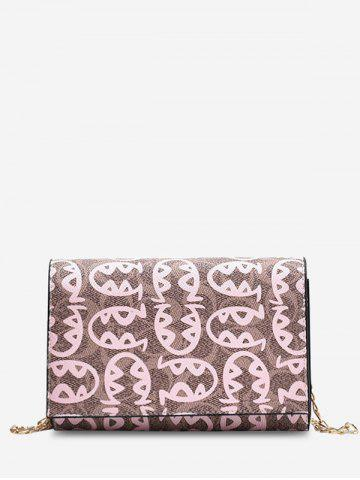 Allover Fish Pattern Chain Crossbody Mini Bag - PINK