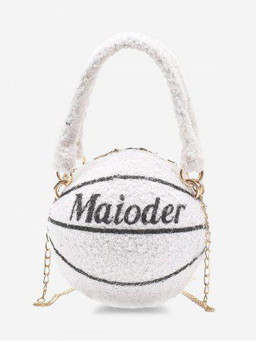 Basketball Shape Double Handle Strap Fleece Crossbody Bag - MILK WHITE