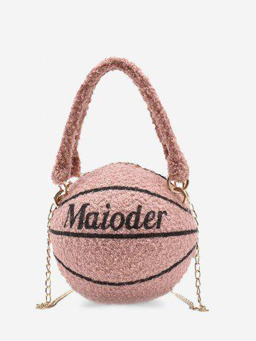 Basketball Shape Double Handle Strap Fleece Crossbody Bag - PINK