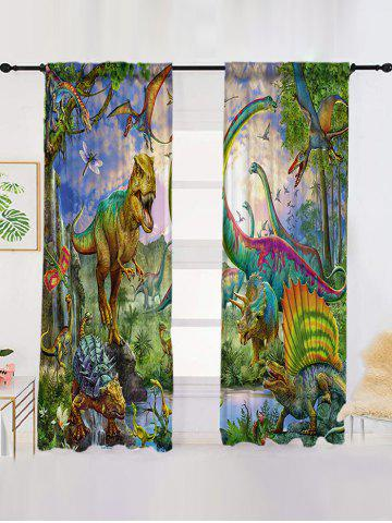 2 Panels Animation Dinosaur Print Children Window Curtains