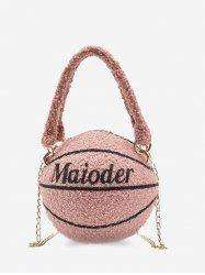 Basketball Shape Double Handle Strap Fleece Crossbody Bag -