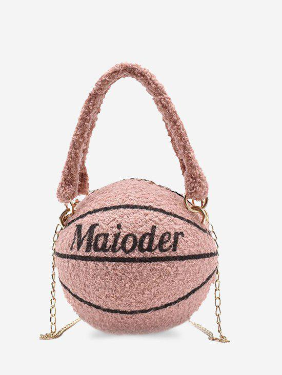Latest Basketball Shape Double Handle Strap Fleece Crossbody Bag
