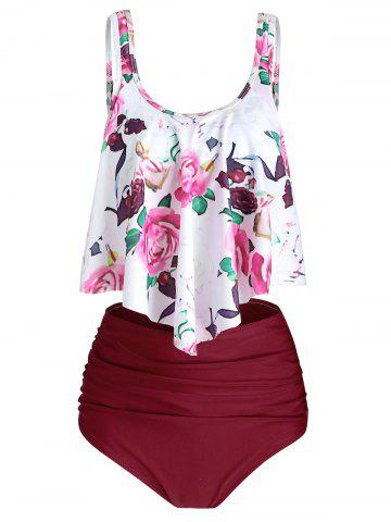 Floral Print Ruched Tankini Set - RED WINE - S