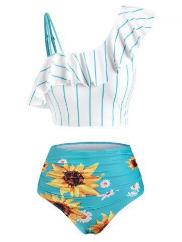 Striped Sunflower Print One Shoulder Flounce Overlay Tankini Swimwear - SEA GREEN - XL