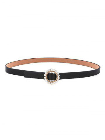 Faux Pearl Inlaid Round Buckle Belt - BLACK