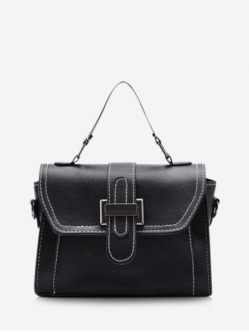 Contrast Stitching Retro Crossbody Bag - BLACK