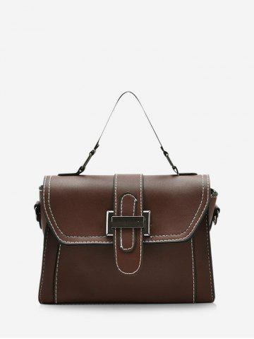 Contrast Stitching Retro Crossbody Bag - BROWN