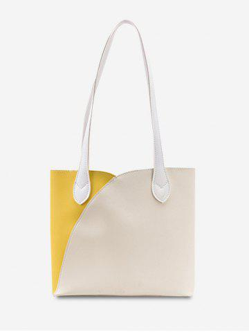 Splicing Square Tote Bag - CORN YELLOW